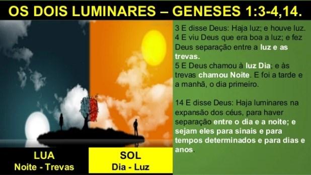 OS DOIS LUMINARES – GENESES 1:3-4,14. 3 E disse Deus: Haja luz; e houve luz. 4 E viu Deus que era boa a luz; e fez Deus se...