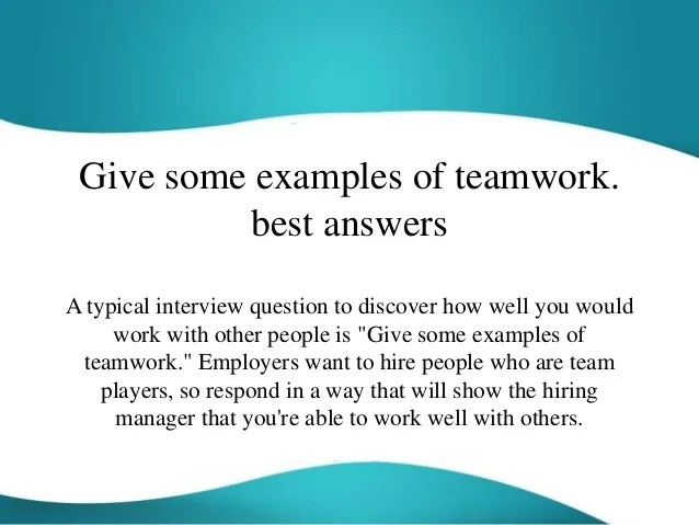 interview question about teamwork