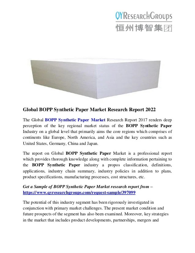 BOPP Synthetic Paper Market Size Analysis Competitive Strategies An