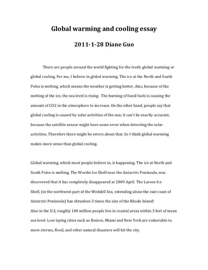 essay global warming english