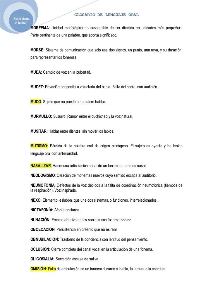 Glosario De Lenguaje Oral