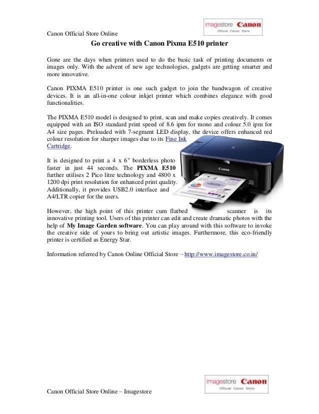 Canon E510 Driver : canon, driver, Canon, Pixma, Printer, Driver, Download