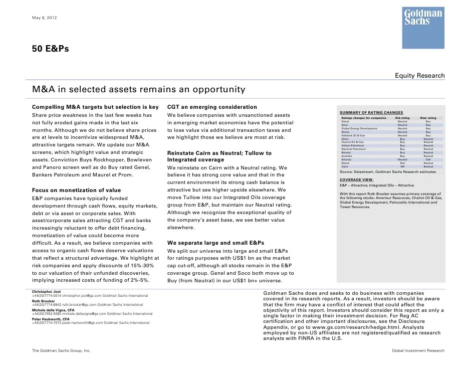 Goldman Sachs 50 EP Equity Research Report