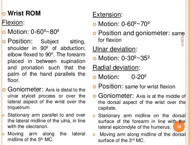 wrist rom also goniometry ppt uche rh slideshare