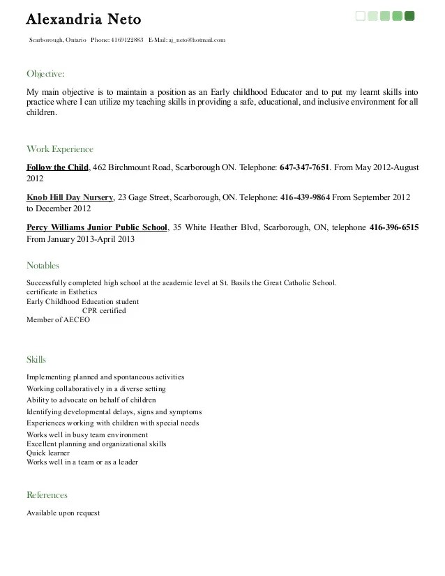 Early Childhood Education Resume Objective. Resume Examples .  Early Childhood Education Resume