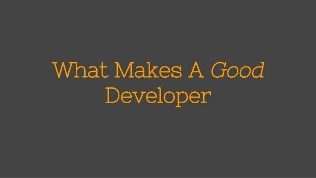 What Makes A Good Developer