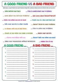 Good friend and bad friend categorizing exercise worksheet