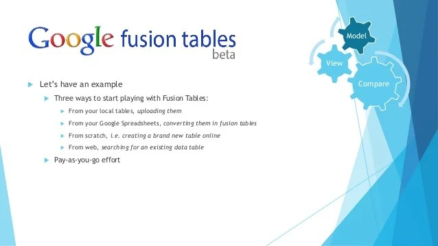 Why Google fusion tables is not a Data Integration tool