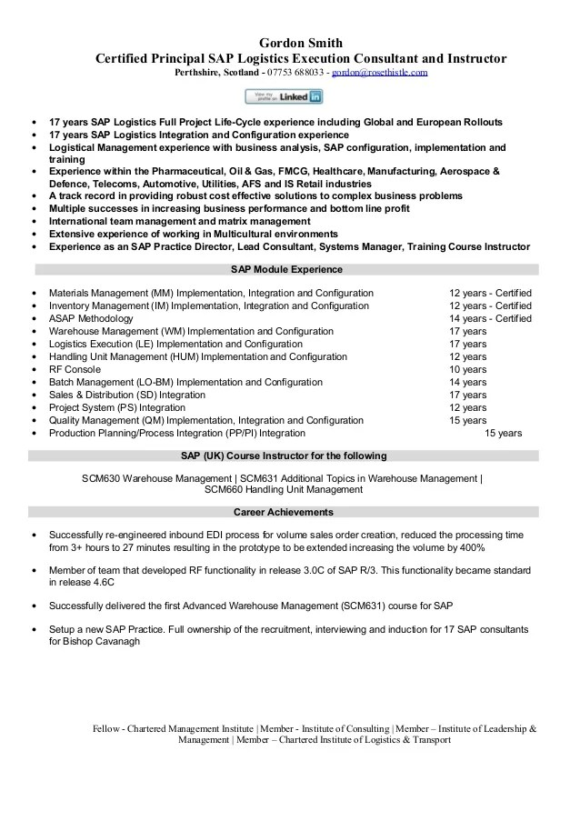 sap logistics resume sample