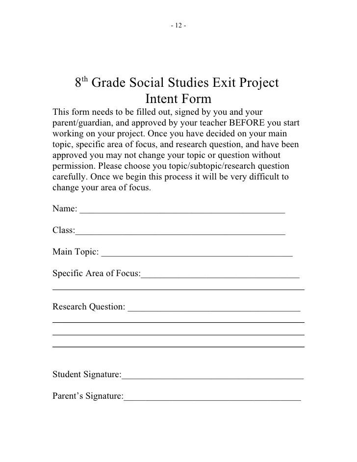Grade 8 Social Studies Exit Project