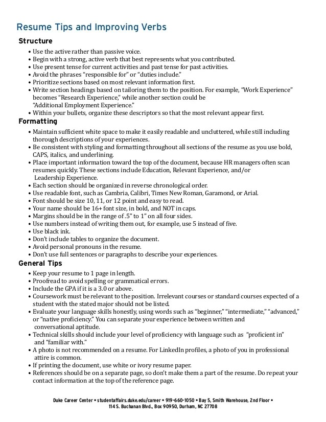 resume experience present or past tense