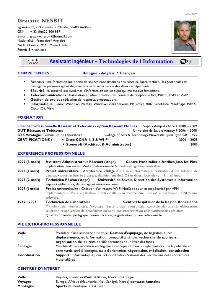 technicien support informatique cv