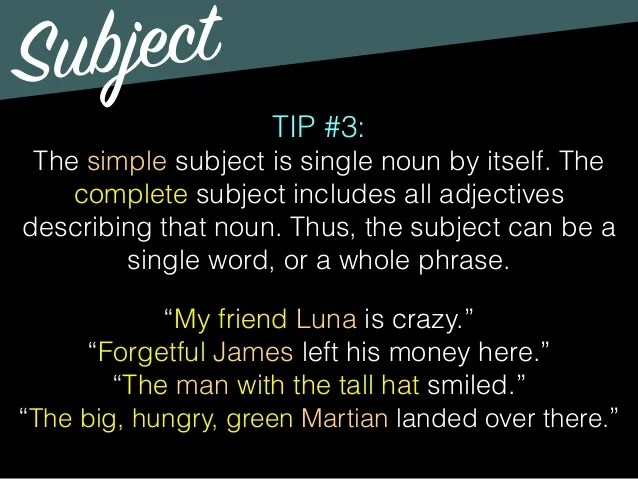 Subject, Predicate, & Modifiers (updated)
