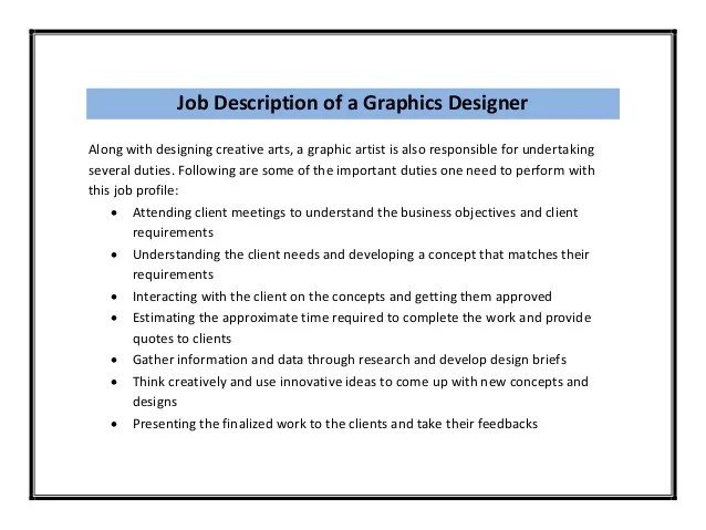 Graphic Artist Job Description Image Gallery - HCPR