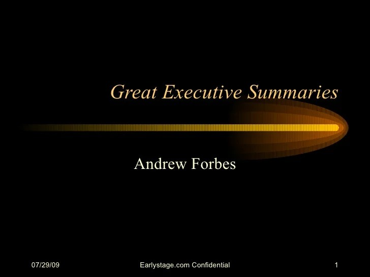 Great Executive Summaries