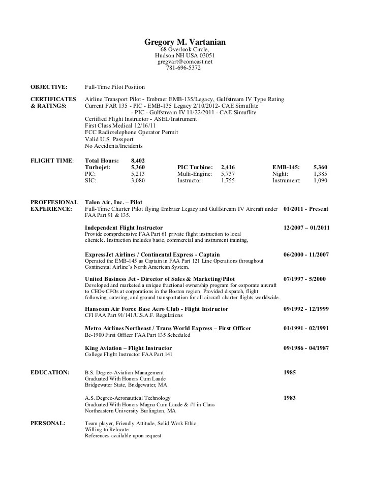 pilot resume examples aviation resume examples