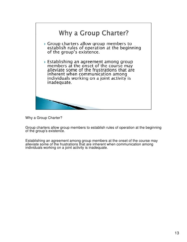 why  group charter also work facilitated by can create an efficient   rh slideshare