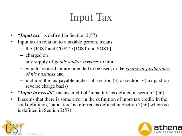 also input tax credit under gst rh slideshare