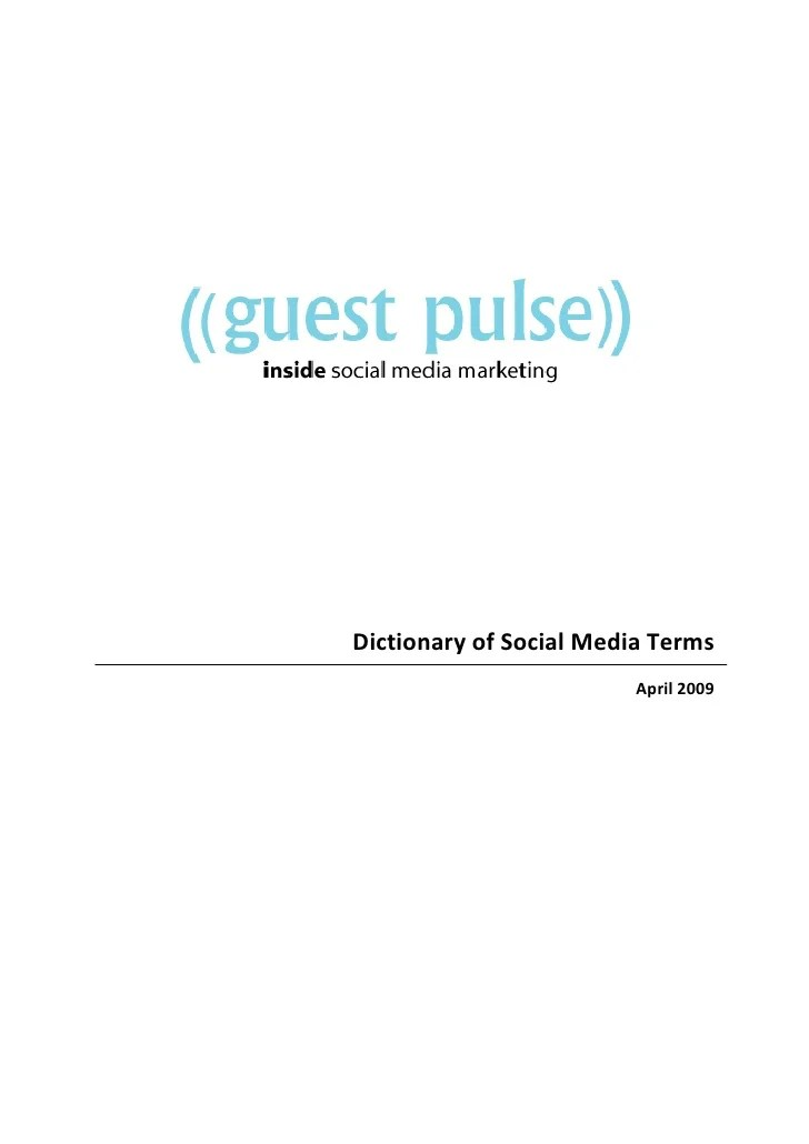Guest Pulse Dictionary Of Social Media Terms