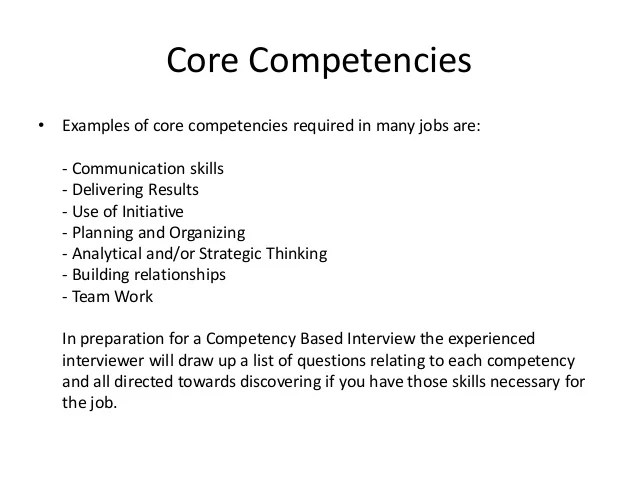 core competency examples in resume
