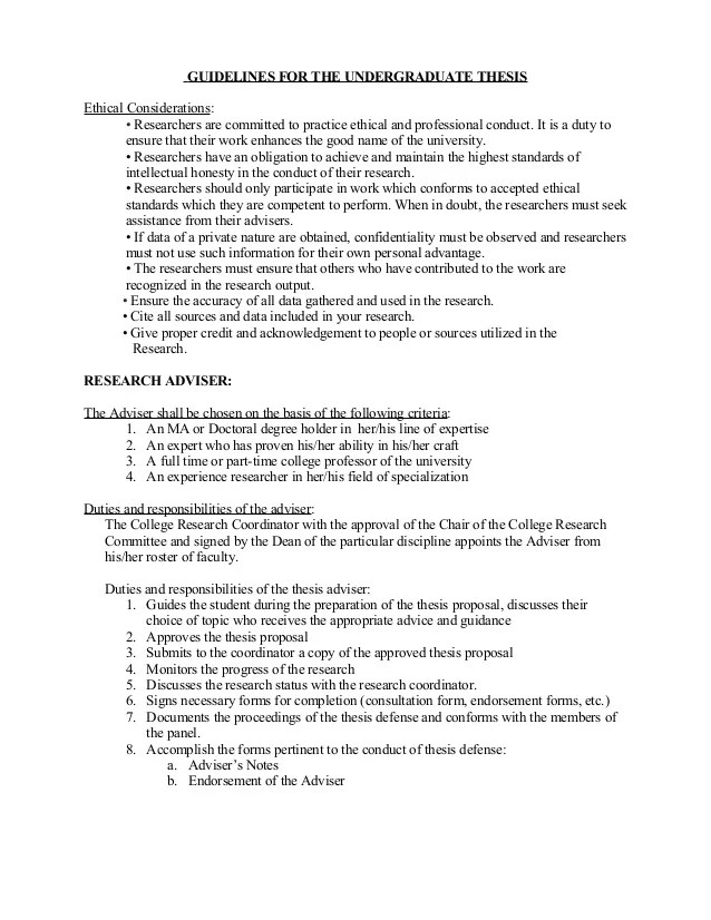 Guidelines For The Undergraduate Thesis With Remarks