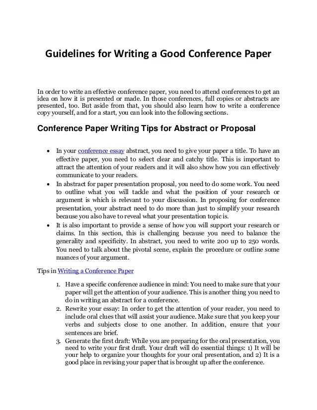 Your Complete Guide To Writing A Good Conference Paper