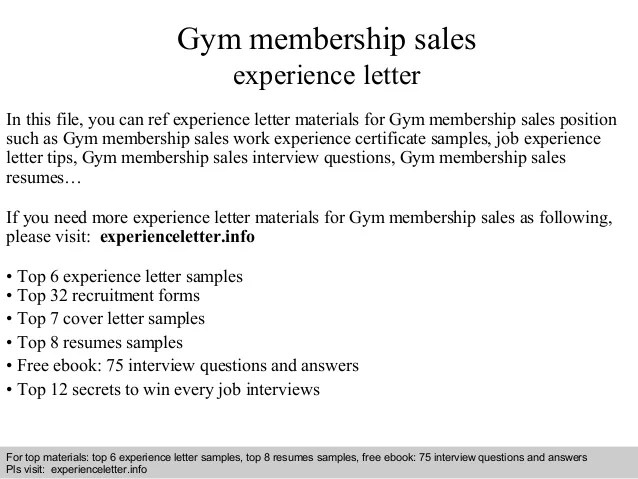 Gym Membership Sales Experience Letter