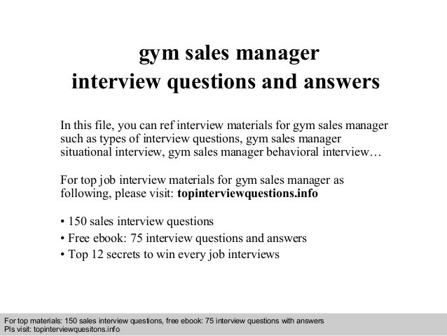 Gym Sales Manager Interview Questions And Answers