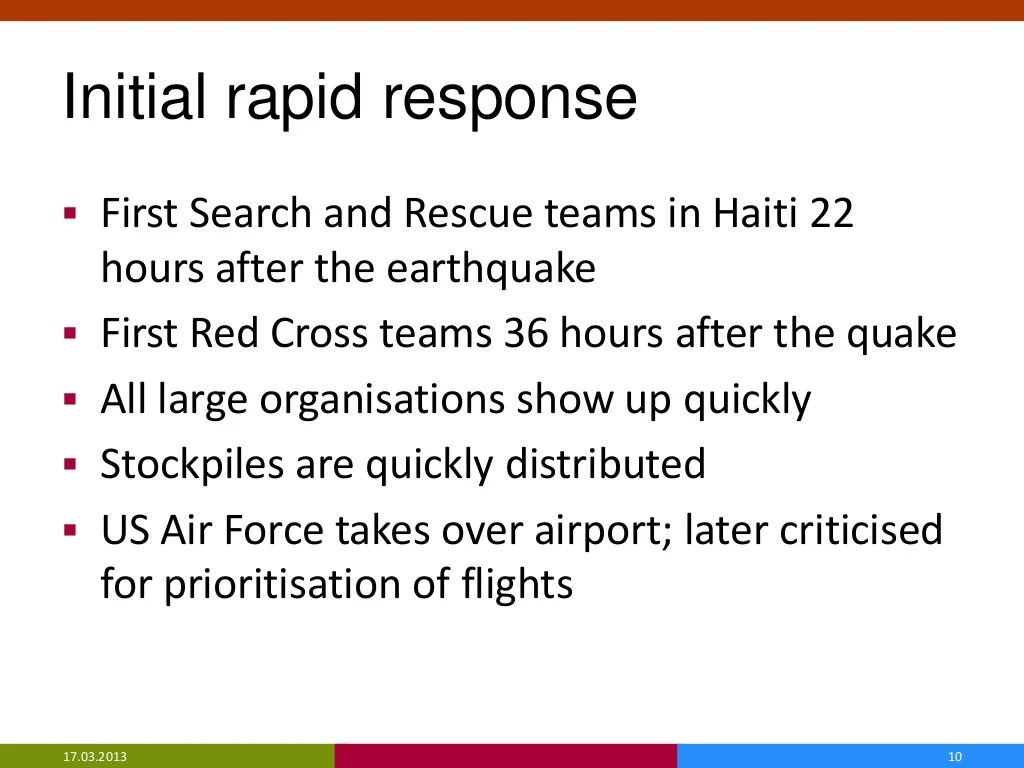 Initial Rapid Response First Search