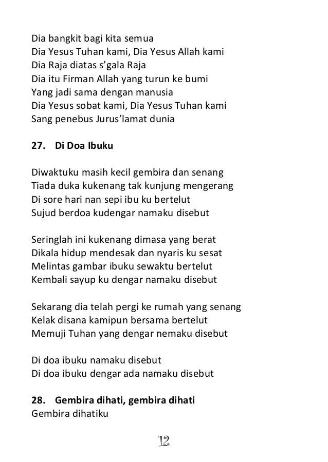 Lirik lagu Di Doa Ibuku Namaku Disebut Joshua - www.lirik