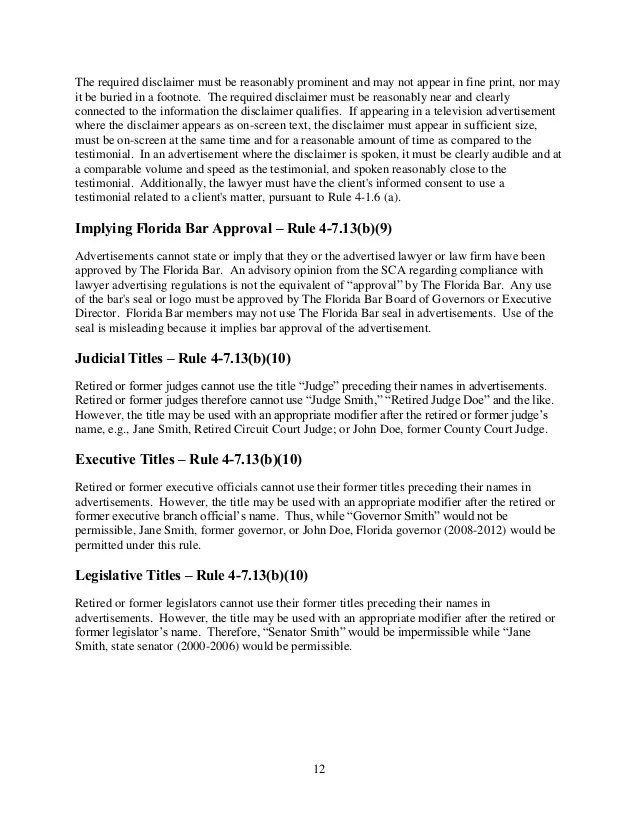 Handbook on Lawyer Advertising and Solicitation via the Florida Bar S…