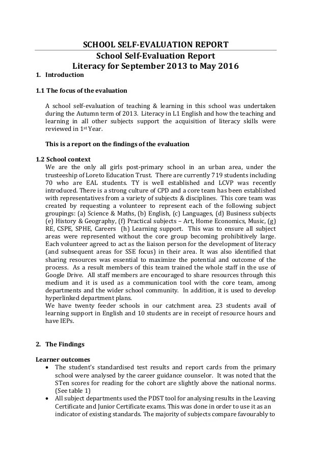 Handout 3 SSE Case Study School Self Evaluation Report