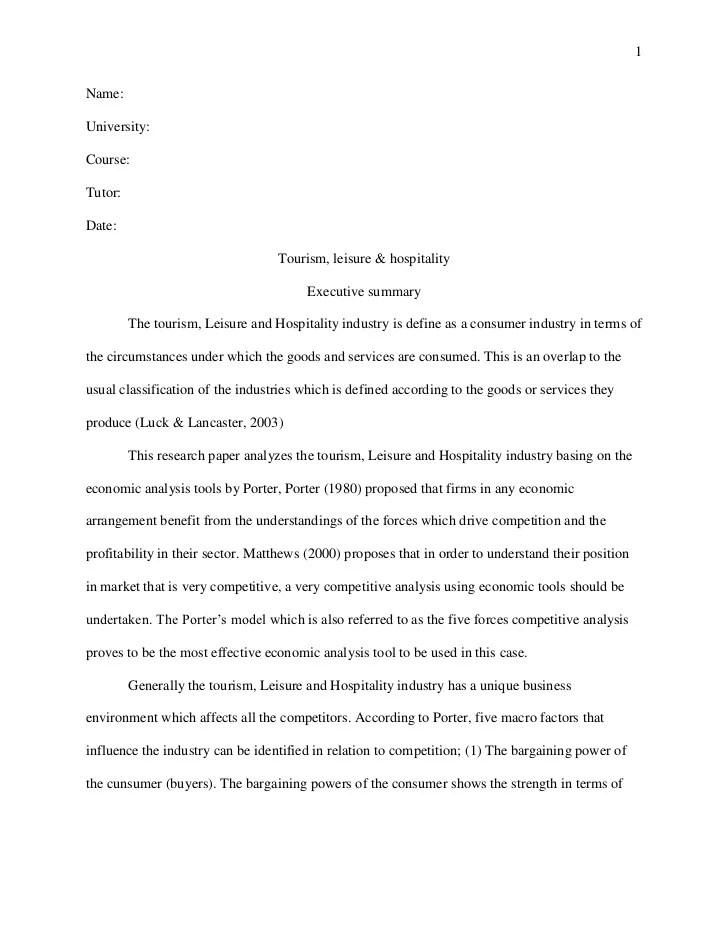 Harvard style essay tourism leisure and hospitality revised