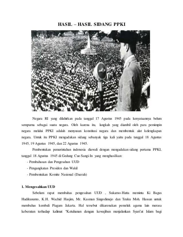 Hasil Keputusan Sidang Ppki 18 Agustus 1945 : hasil, keputusan, sidang, agustus, Hasil, Sidang