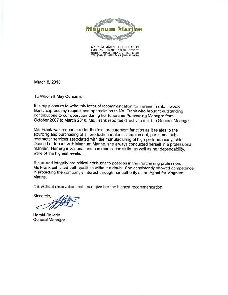 Letter of Recommendation  Magnum Marine Corporation