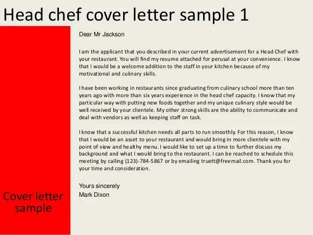 Head Chef Cover Letter