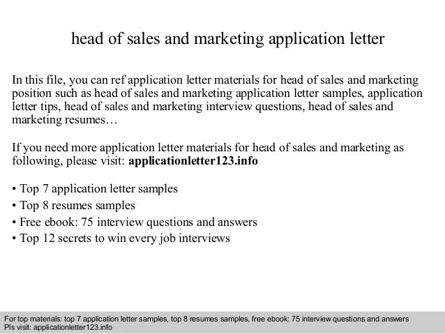 Head Of Sales And Marketing Application Letter