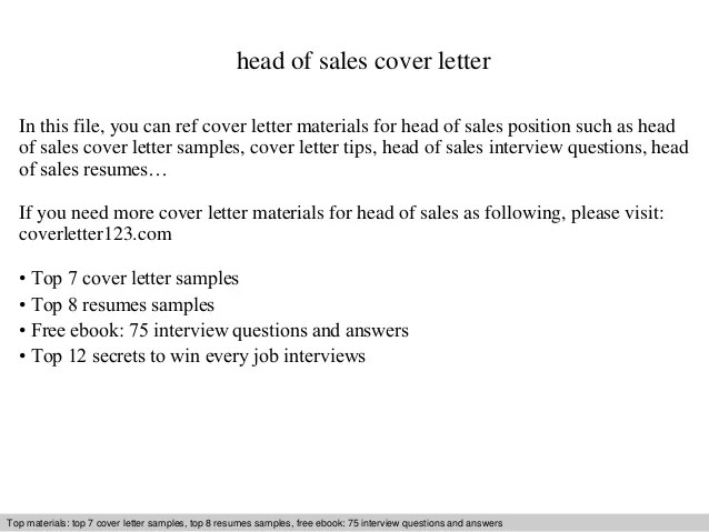 Head of sales cover letter