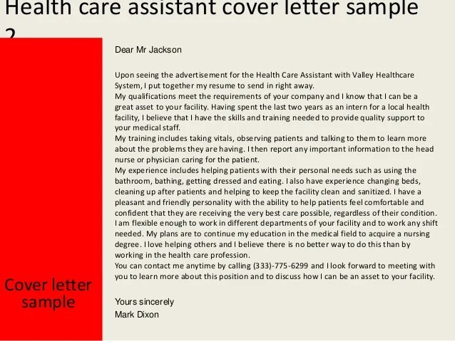 health care assistant cover letter sample