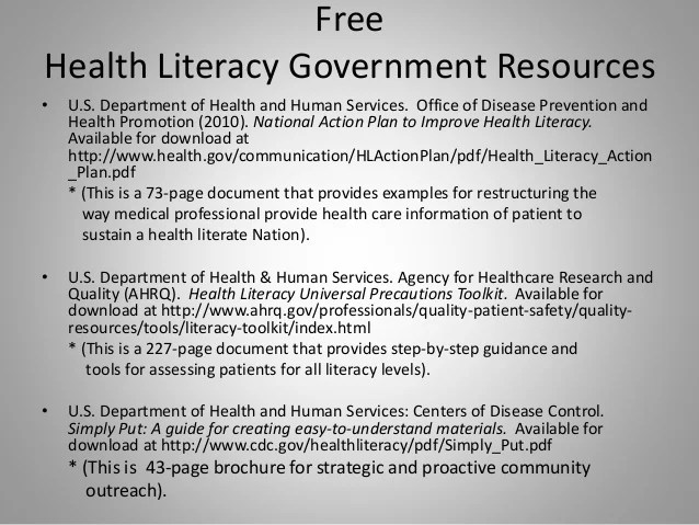 Low Health Literacy In The Older Adult Identification