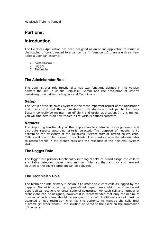 HelpDesk Training Manual
