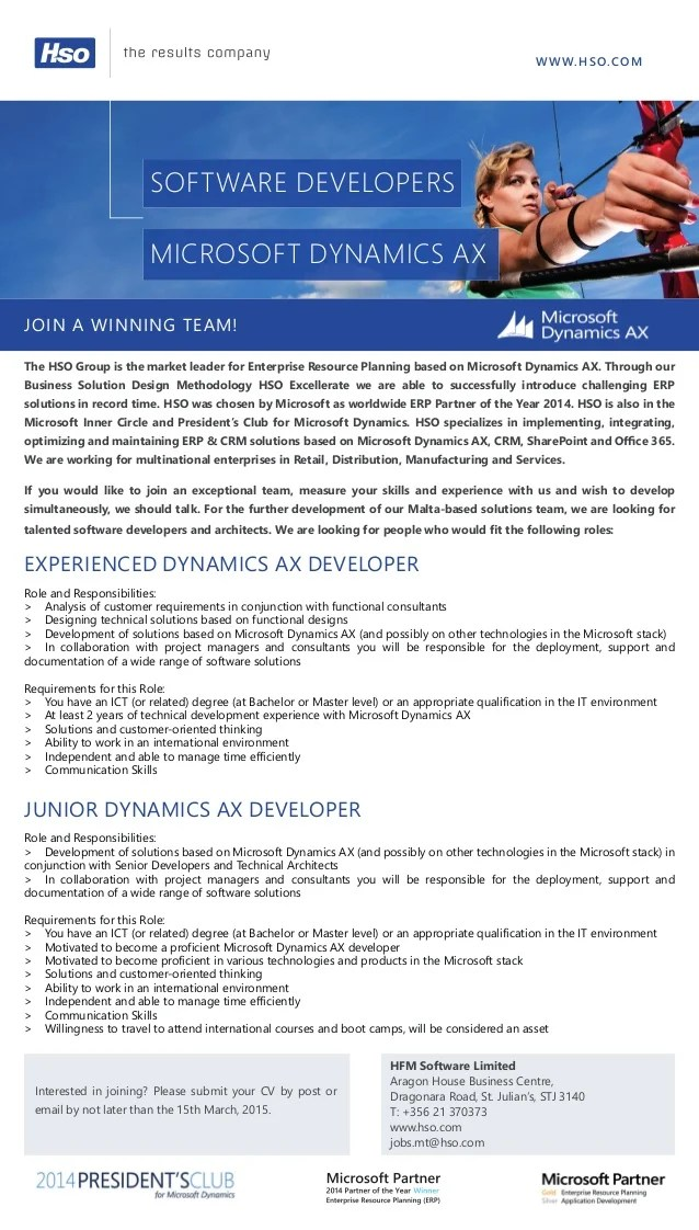 Career Opportunity Microsoft Dynamics AX Developers