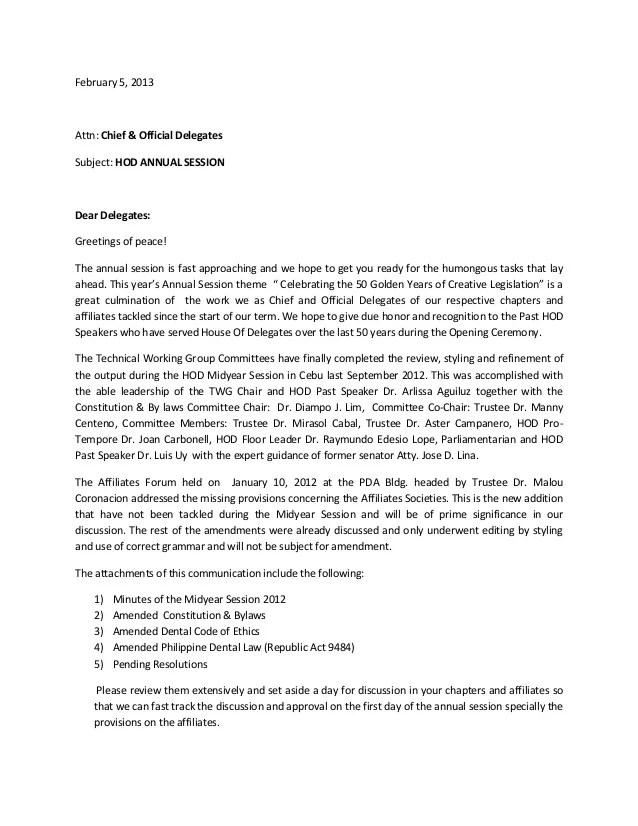 Hod Cover Letter To Delegates For Annual Session 2013