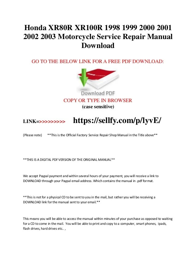 01 Cr125 Service Manual