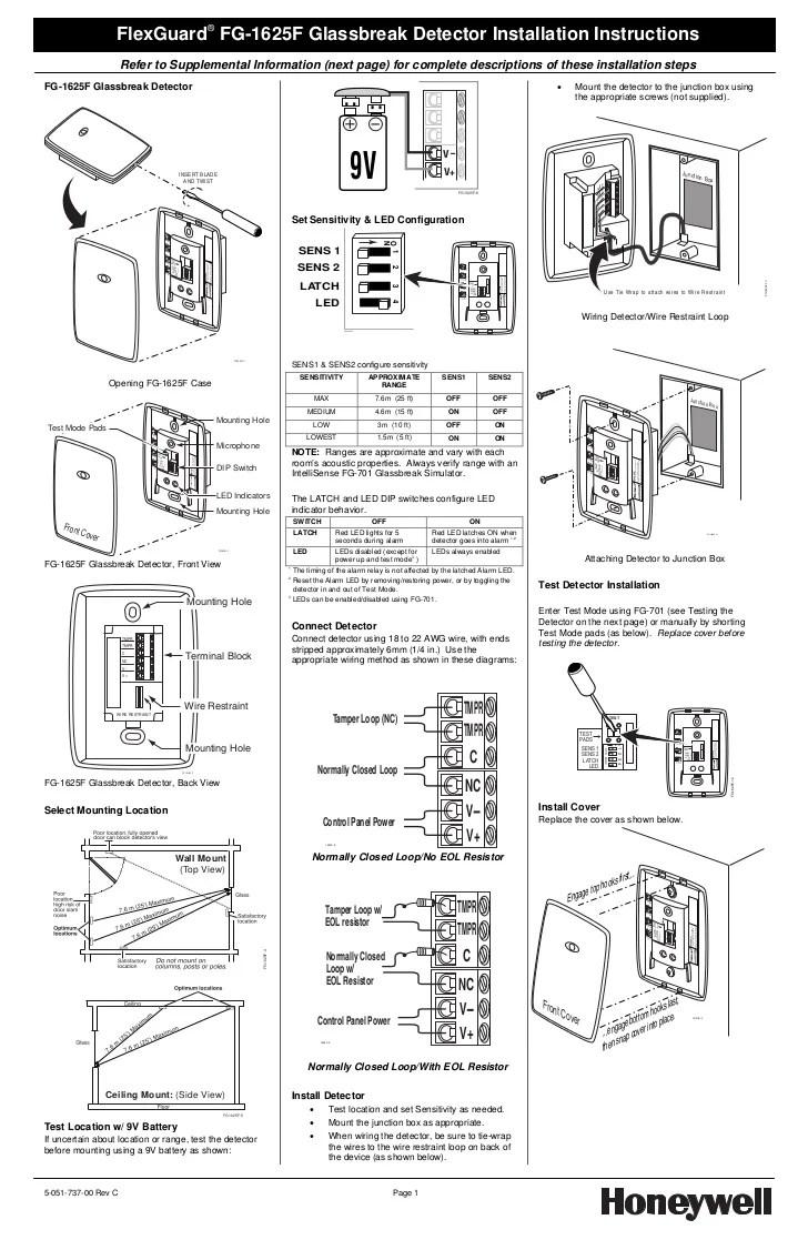 Honeywell fg1625finstallguide