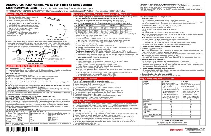 Honeywell Vista 15P And Honeywell Vista 20p Quick Install Guide