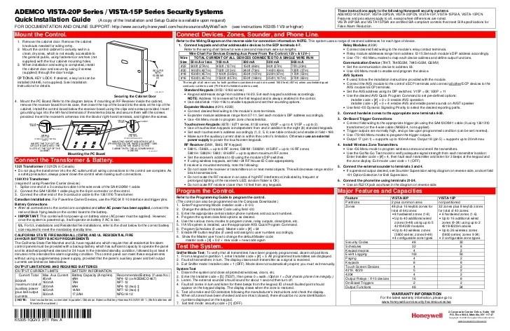 Honeywell Vista 15P and Honeywell Vista 20p Quick Install Guide