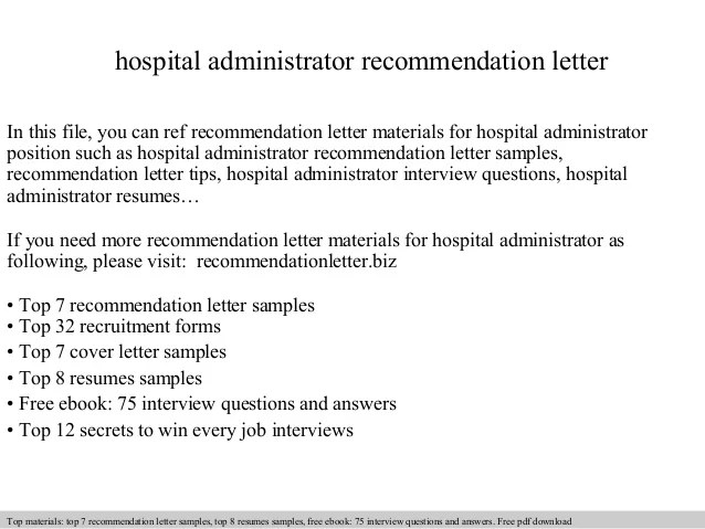 Hospital Administrator Recommendation Letter