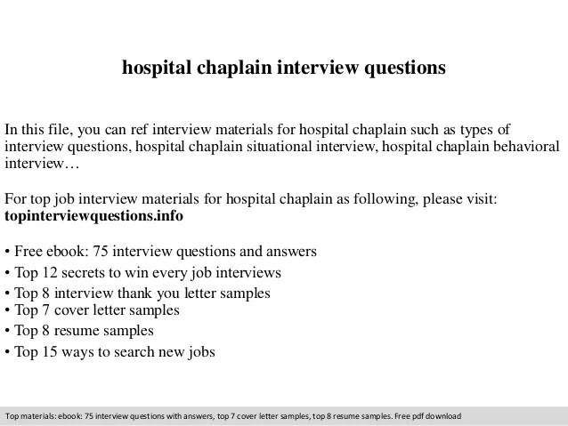Hospital chaplain interview questions
