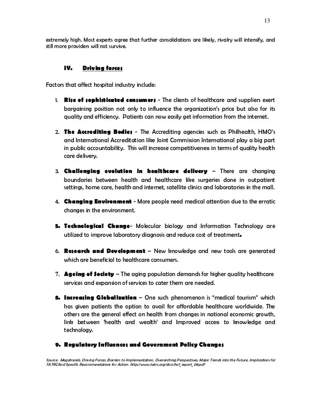 Strategic Management Paper Hospital Industry Analysis